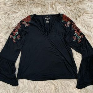AEO Soft + Sexy Embroidered Festival Top